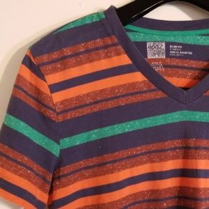 EUC BDG Urban Outfitters Color Striped V-Neck Tee